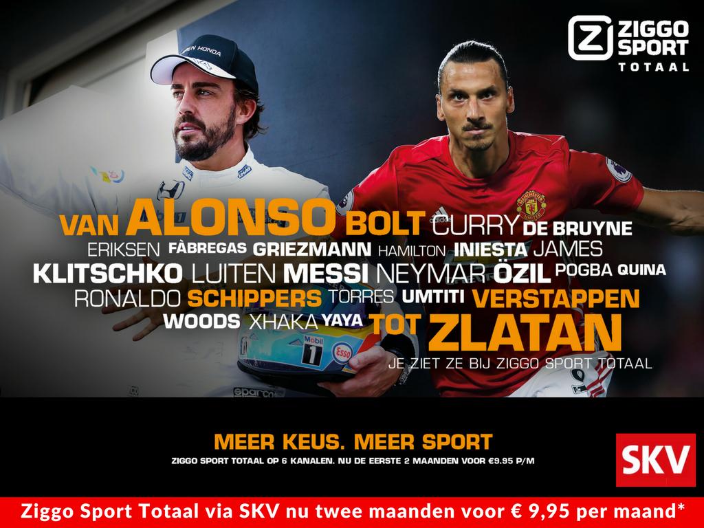 Actie Ziggo Sport Totaal nu bij SKV voor 9,95 Euro per maand*