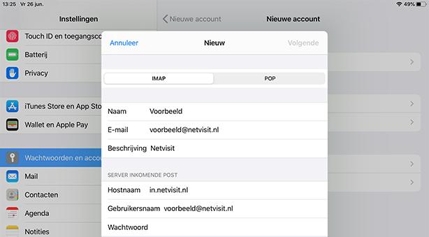Mail instellen Ipad SKV - Stap 5